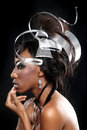 Metal headpiece on a beautiful model posing sculpted Royalty Free Stock Image