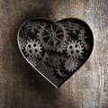 Metal Heart With Rusty Gears