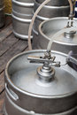 Metal kegs of beer to the pipeline Stock Photography