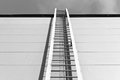 Metal ladder on industrial building in black and white style Royalty Free Stock Photo