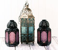 Metal lanterns three glass and Stock Image
