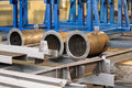 Metal large diameter pipes steel structures of steel Stock Photos