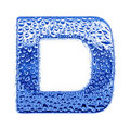Metal letter & water drops - letter D Royalty Free Stock Photo