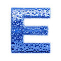 Metal letter & water drops - letter E Stock Photography
