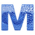 Metal letter & water drops - letter M Royalty Free Stock Photo