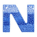 Metal letter & water drops - letter N Royalty Free Stock Photography