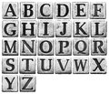 Metal letters alphabet isolated on white Stock Photo