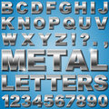 Metal letters an alphabet sit of shiny and numbers Royalty Free Stock Photography