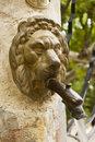 Metal lion head spout bronze in an antique public fountain in gigondas vaucluse france Royalty Free Stock Photos