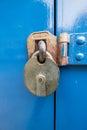 Metal Lock on a blue door Royalty Free Stock Photo