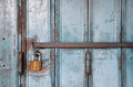 Metal lock on a blue door Royalty Free Stock Photo