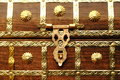 Metal lock on wooden chest brass handmade Royalty Free Stock Photos