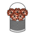 Metal mason jar with flowers isolated icon