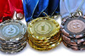 Metal medals for the first second and third place Royalty Free Stock Photo
