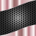 Abstract Shiny Brushed Pink Metal on Gray Metal Mesh Background
