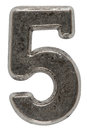Metal numeral 5 five, isolated on white background, with clippin Royalty Free Stock Photo