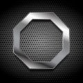 Metal octagon logo on perforated background Royalty Free Stock Photo