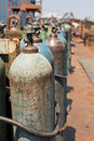Metal oxygen cylinders Stock Photos