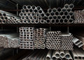 Metal pipe stack Royalty Free Stock Images