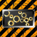 Metal plate and gears on dirty grunge Stock Images