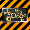 Metal plate and gears on grunge Royalty Free Stock Images