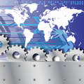 Metal plate and gears world map with arrows Royalty Free Stock Photo