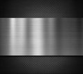 Metal plate over black perforated background Royalty Free Stock Photo