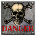 A metal plate with a skull and the words danger Royalty Free Stock Photo