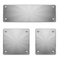 Metal plates three shiny of different size with rivets Royalty Free Stock Image