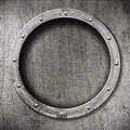 Metal porthole background Stock Photo