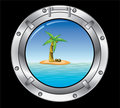 Metal porthole and palm tree Stock Photography