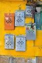 Metal Postboxes, Cheung Chau, Hong Kong Royalty Free Stock Photo