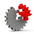 Metal puzzle gear Royalty Free Stock Photo
