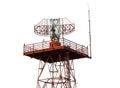 Metal radar tower in airport area