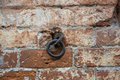 Metal ring in a brick wall the old of red bricks Royalty Free Stock Images