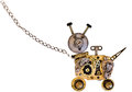 Metal robot dog on a metal chain. Royalty Free Stock Photo