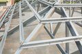 Metal roof structure in construction site Stock Photography