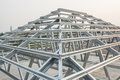 Metal roof structure in construction site Royalty Free Stock Image