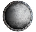 Metal round aged shield isolated on white Royalty Free Stock Photo