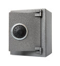Metal safe white background Royalty Free Stock Photo