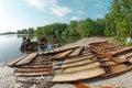 Metal scrap at the shore Royalty Free Stock Photo