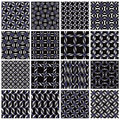 Metal seamless patterns set. Stock Photo