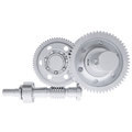 Metal shafts gears and bearings d render isolated on white background Stock Photo