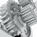 Metal shafts gears and bearings d render on white background Stock Image