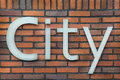 Metal sign of the word City Royalty Free Stock Photos