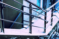 Metal silver railing and stairs Royalty Free Stock Photo