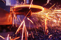 Metal sparks bright during processing Stock Photography