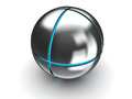 Metal sphere with blue light abstract d illustration of steel ball inside it Stock Photo