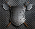 Metal spiked shield and two crossed battle axes on armor 3d illustration Royalty Free Stock Photo