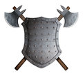 Metal spiked shield and two crossed battle axes 3d illustration Royalty Free Stock Photo